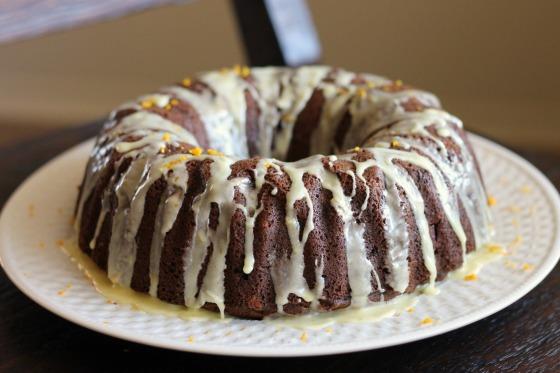 Persimmon Spice Cake with Orange Glaze