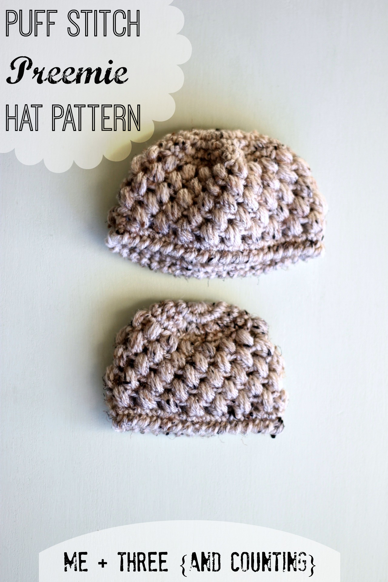 Free Crochet Pattern Preemie Cap : preemie hat pattern Me + Three {and counting}