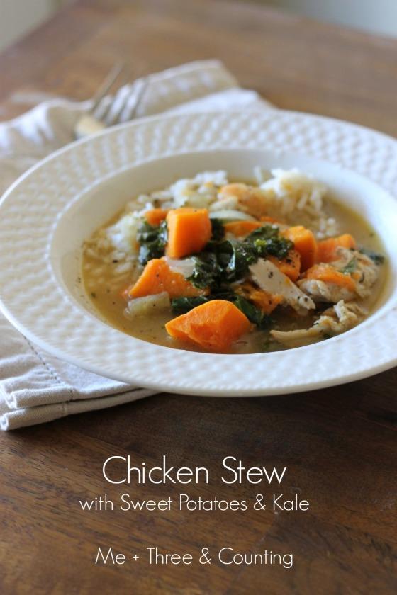 Chicken stew sweet potatoes kale